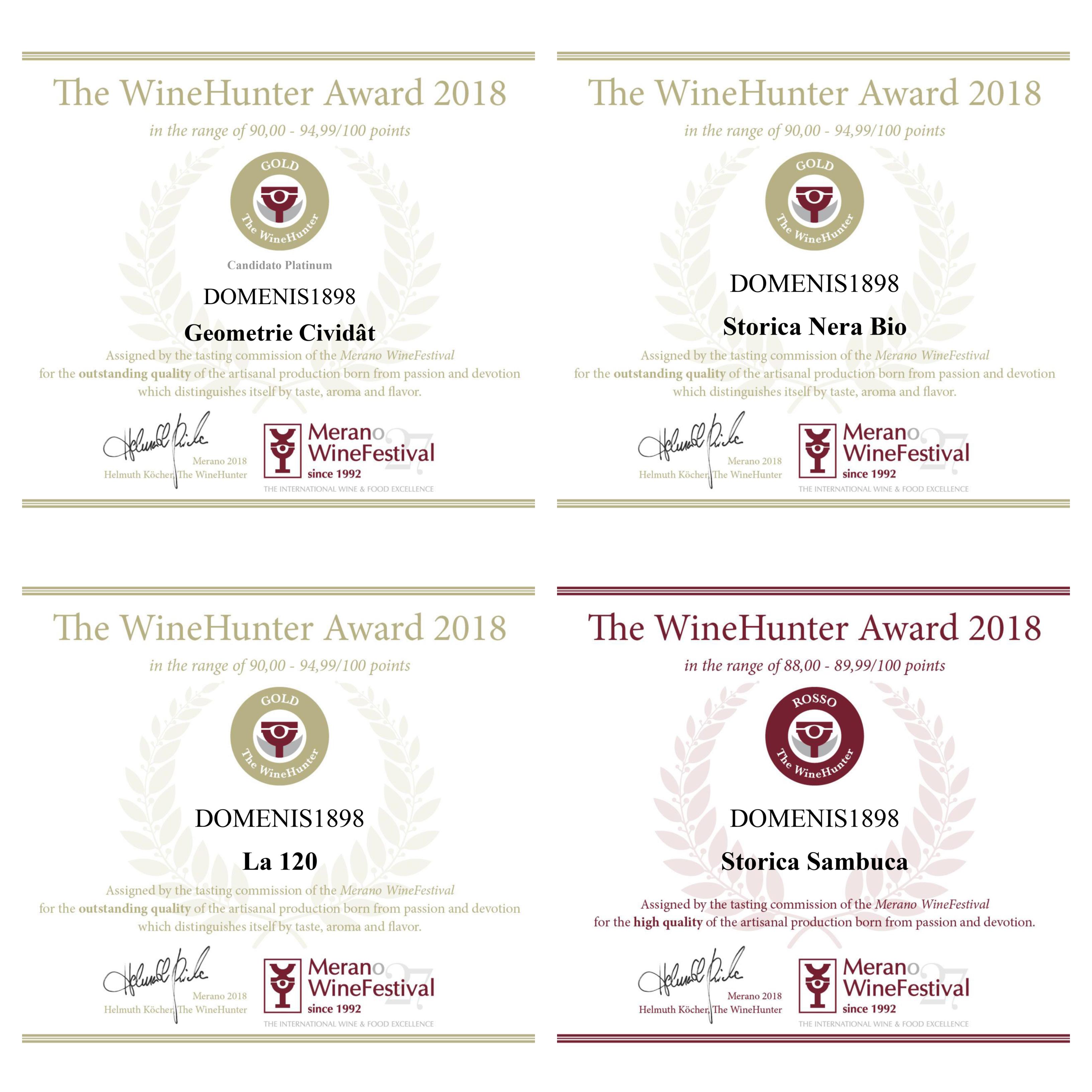 DOMENIS1898 tra i vincitori di The WineHunter Award 2018