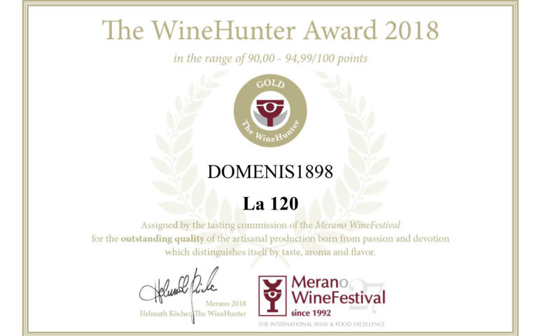 WINEHUNTER AWARD 2018 – PREMIO ORO – LA 120