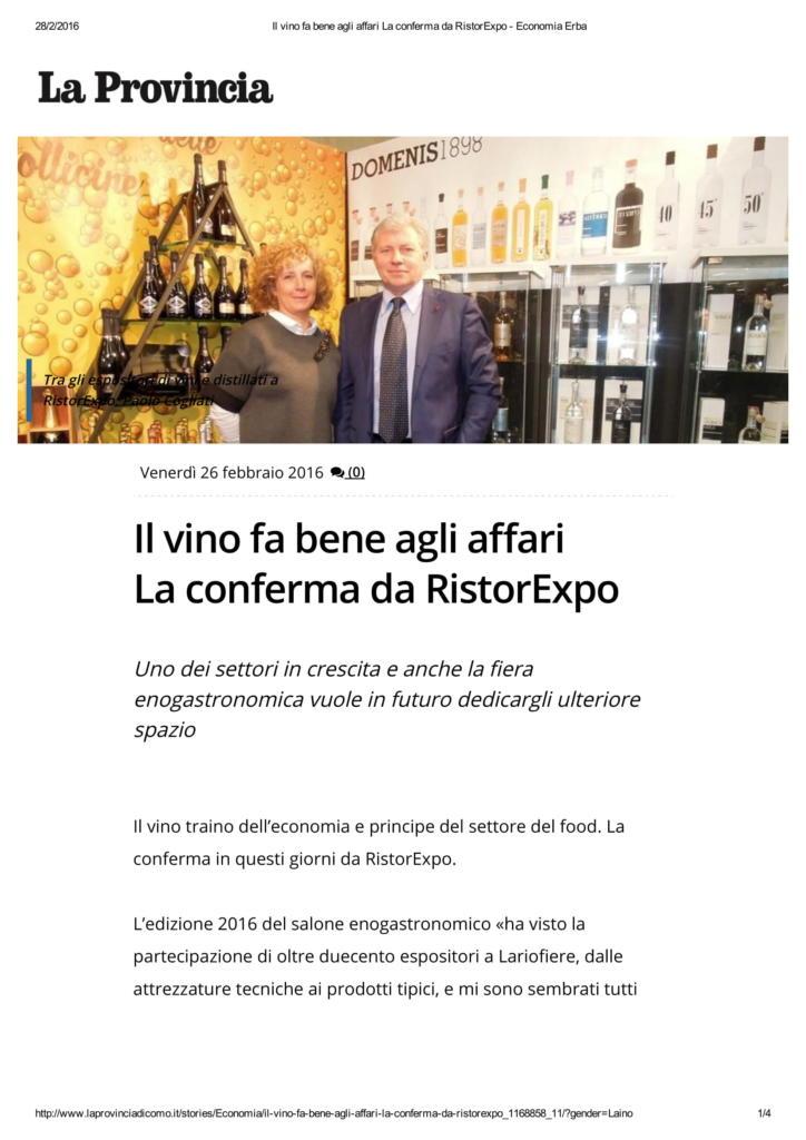 2016 02 26 Il vino fa bene agli affari La conferma da RistorExpo