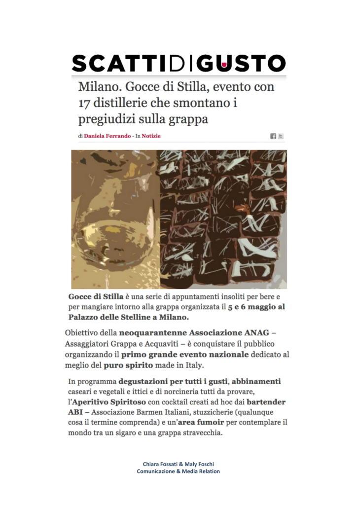 2018 aprile 23: Milano. Gocce di Stilla, evento con 17 distillerie che smontano i pregiudizi sulla grappa