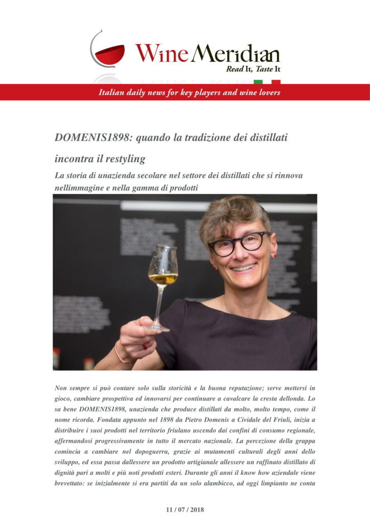 2018 luglio 07: DOMENIS1898 quando la tradizione dei distillati incontra il restyling
