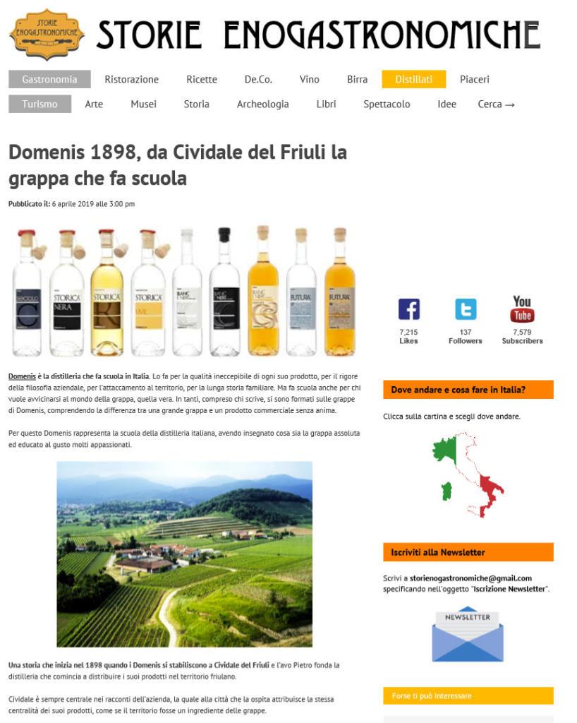 2019 aprile 6: Storie Enogastronomiche – Domenis1898, da Cividale del Friuli la grappa che fa scuola