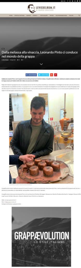 2019 giugno 26: Le Vie del Rum – Dalla melassa alla vinaccia, Leonardo Pinto ci conduce nel mondo della grappa