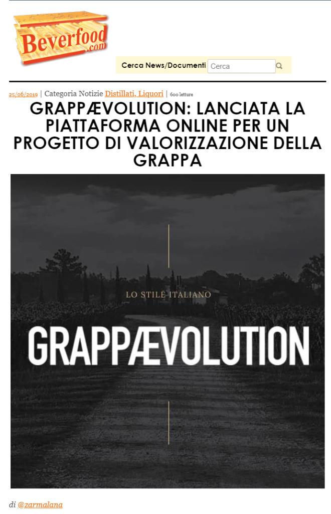 2019 giugno 26: Beverfood – GrappÆvolution: lanciata la piattaforma online per un progetto di valorizzazione della grappa