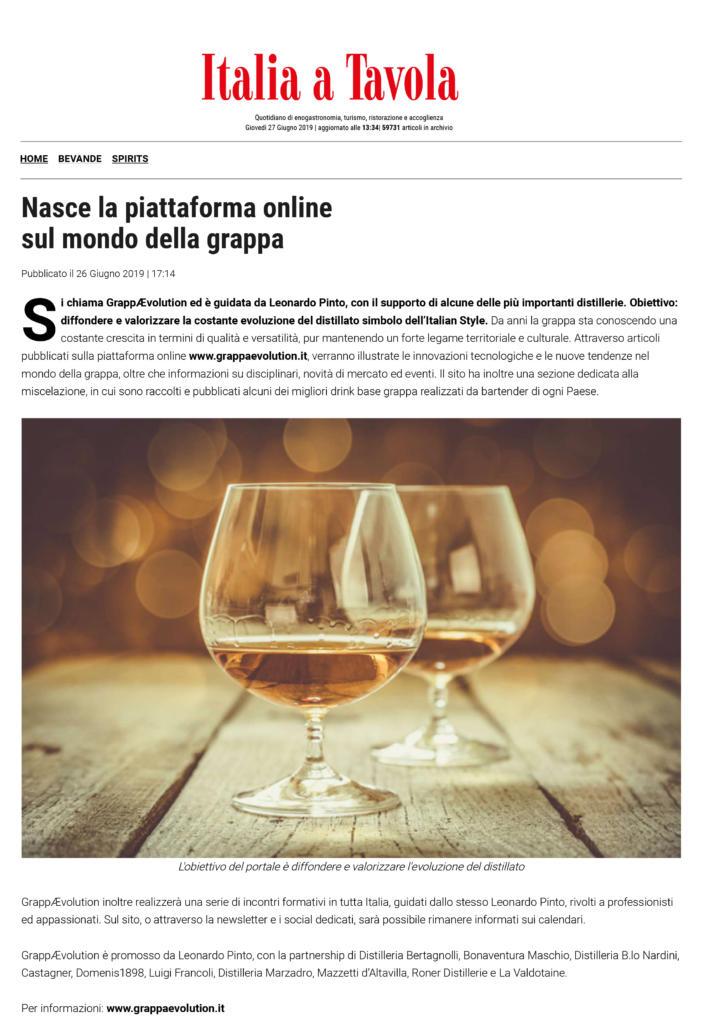 2019 giugno 26: Italia a Tavola – Nasce la piattaforma online sul mondo della grappa