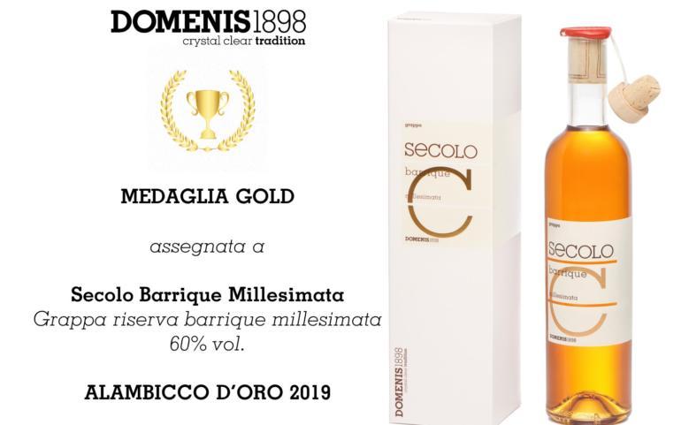 PREMIO ALAMBICCO D'ORO 2019 – MEDAGLIA GOLD – SECOLO BARRIQUE MILLESIMATA