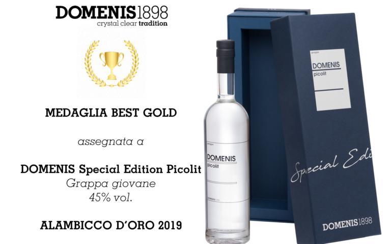 PREMIO ALAMBICCO D'ORO 2019 – MEDAGLIA BEST GOLD – DOMENIS SPECIAL EDITION PICOLIT