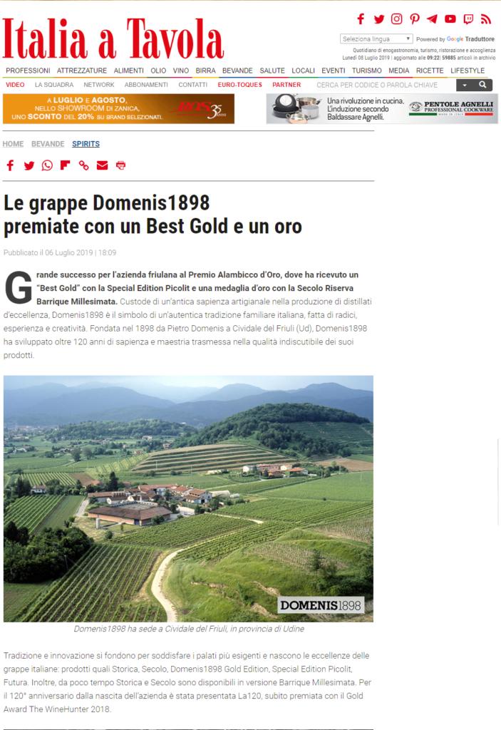 2019 luglio 06: Italia a Tavola – Le grappe Domenis1898  premiate con un Best Gold e un oro