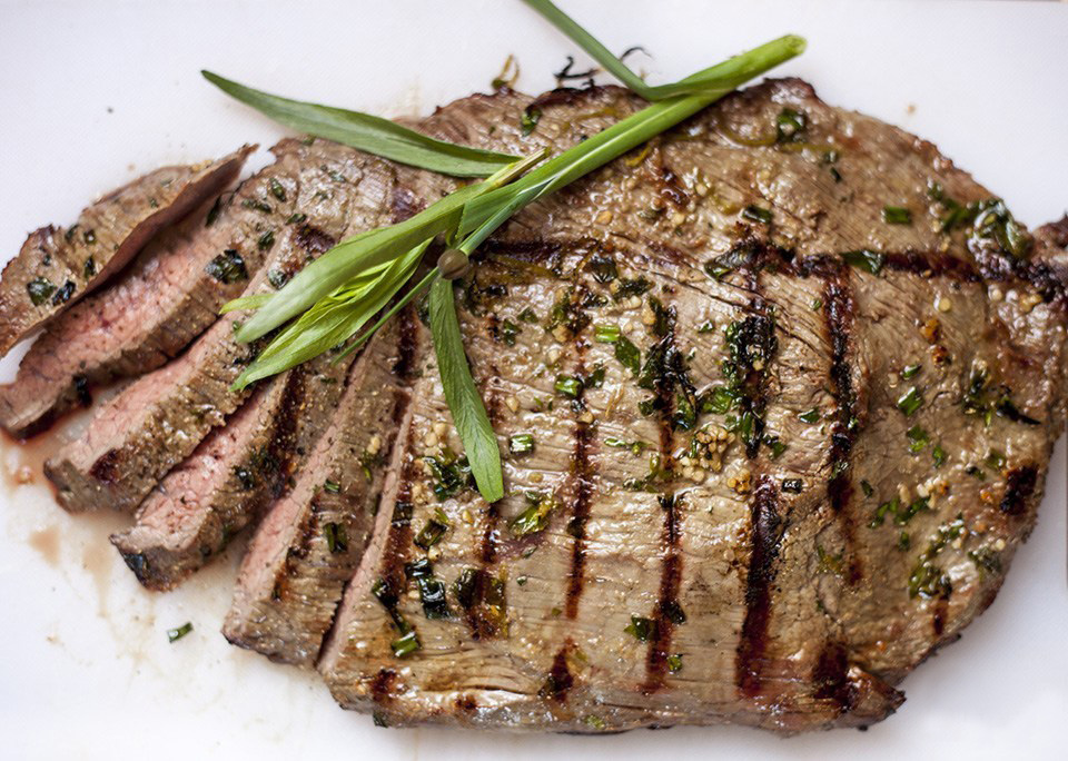 DOT-GIN grilled marinated flank steak