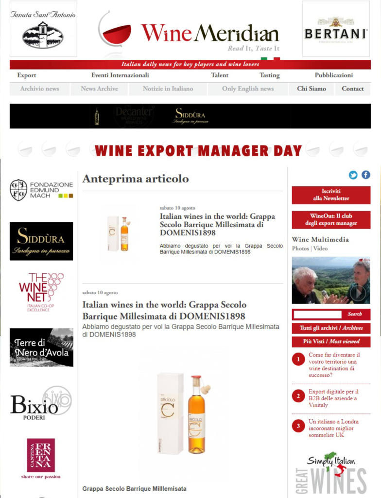 2019 agosto 10: WineMeridian – Italian wines in the world: Grappa Secolo Barrique Millesimata di DOMENIS1898