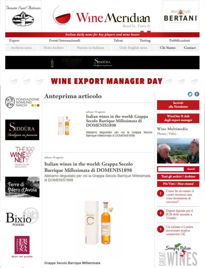 2019 agosto 10: WineMeridian – Italian wines in the world: Grappa Secolo Barrique Millesimata di DOMENIS1898