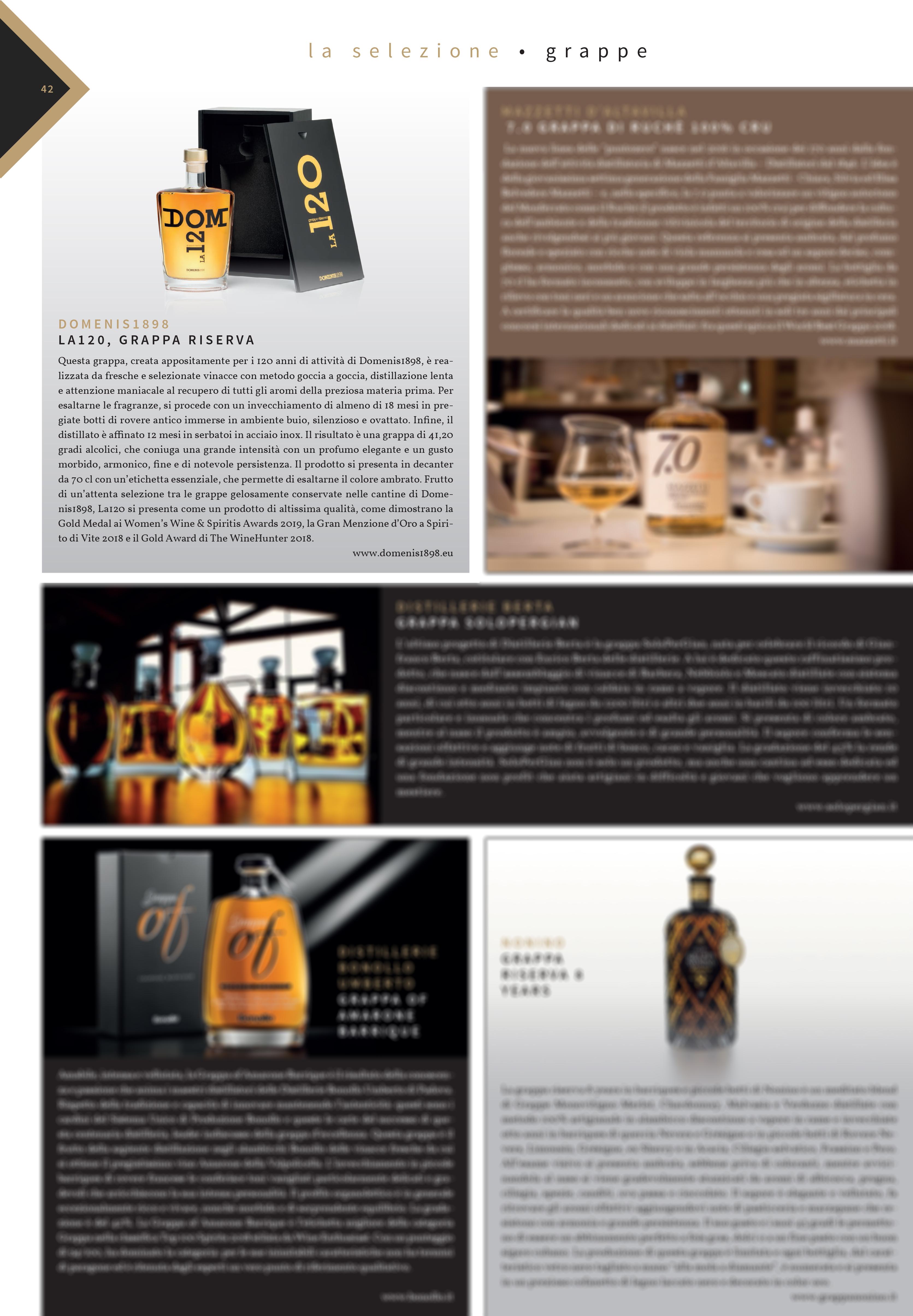 2019 settembre 30: Luxury Food&Beverage Magazine#1 – La selezione grappe