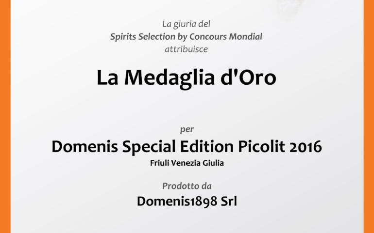 SPIRITS SELECTION by Concours Mondial de Bruxelles_2019 – GOLD MEDAL – DOMENIS SPECIAL EDITION PICOLIT