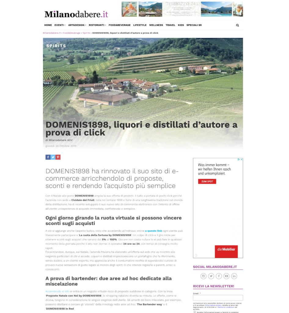 2019 ottobre 24: Milanodabere.it – Domenis1898, liquori e distillati d'autore a prova di click