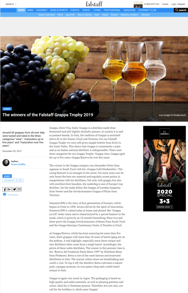 2019 dicembre 09: Falstaff.at – The winners of the Falstaff Grappa Trophy 2019