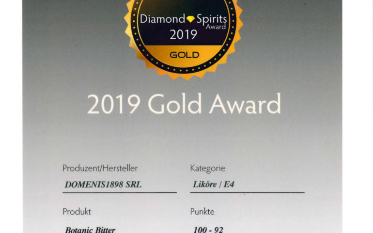 DIAMOND SPIRITS AWARD 2019 – GOLD – TRITTICO BOTANIC BITTER