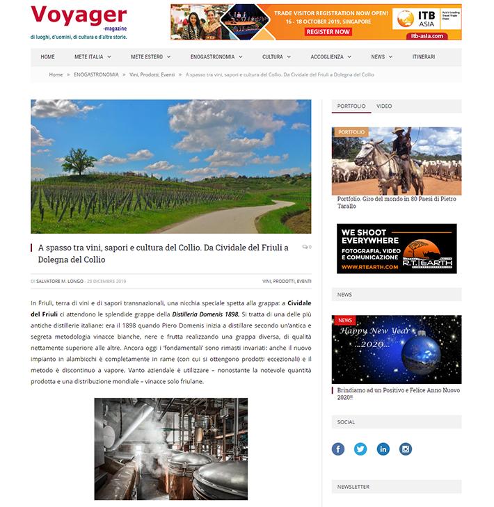 2019 dicembre 28: VOYAGER-magazine.it – A spasso tra vini, sapori e cultura del Collio. Da Cividale del Friuli a Dolegna del Collio