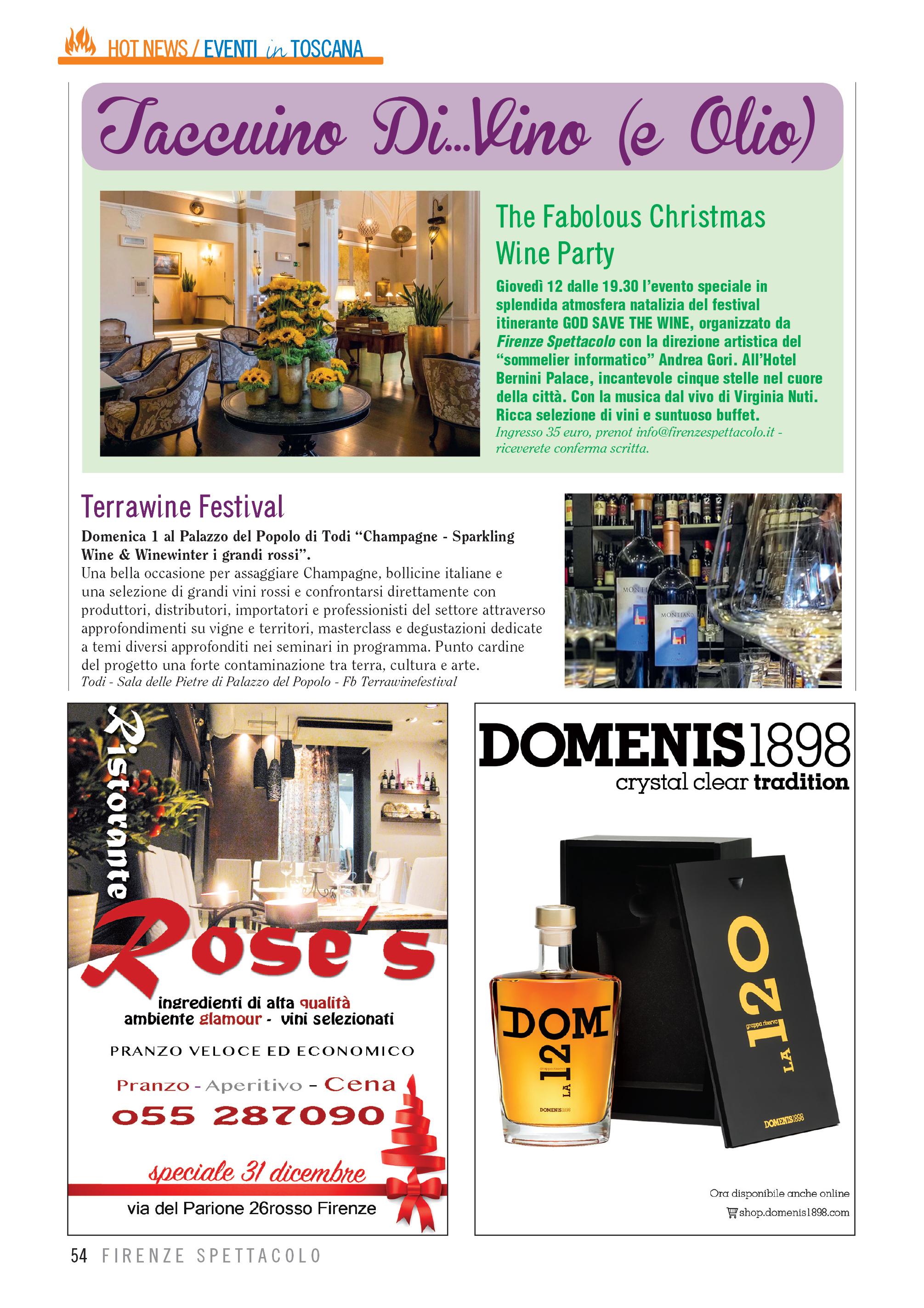2019 dicembre 15: Firenze Spettacolo – Taccuino Di..Vino