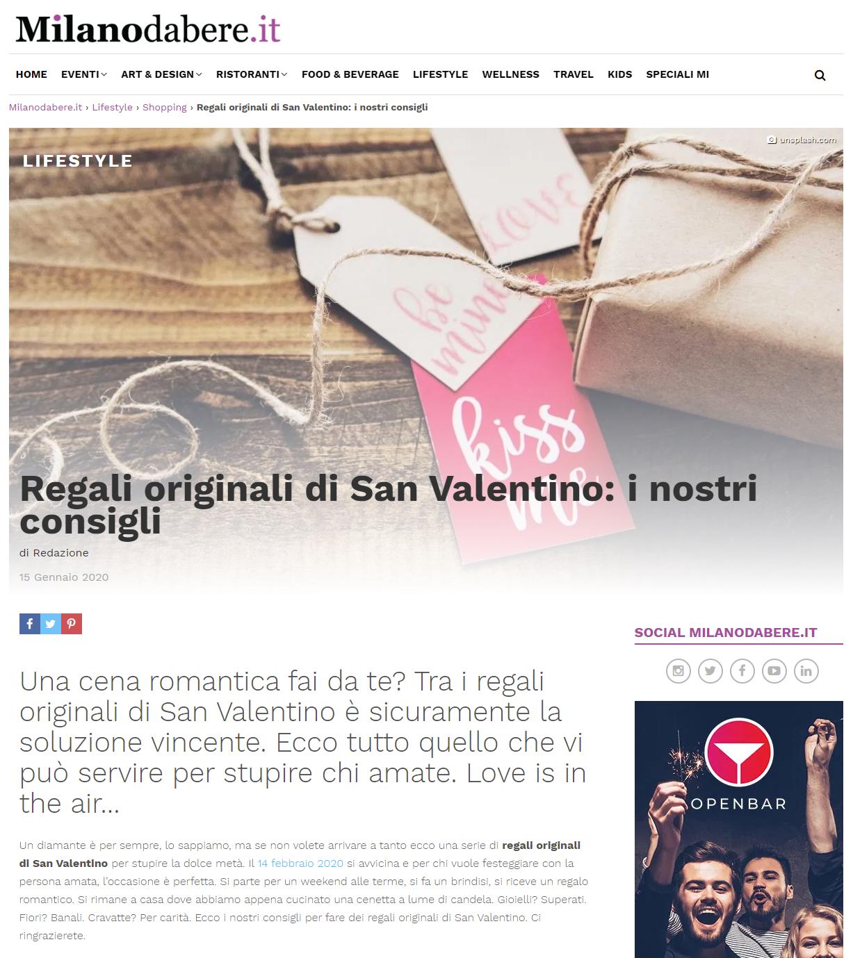 2020 gennaio 15: Milanodabere.it – Regali originali di San Valentino: i nostri consigli