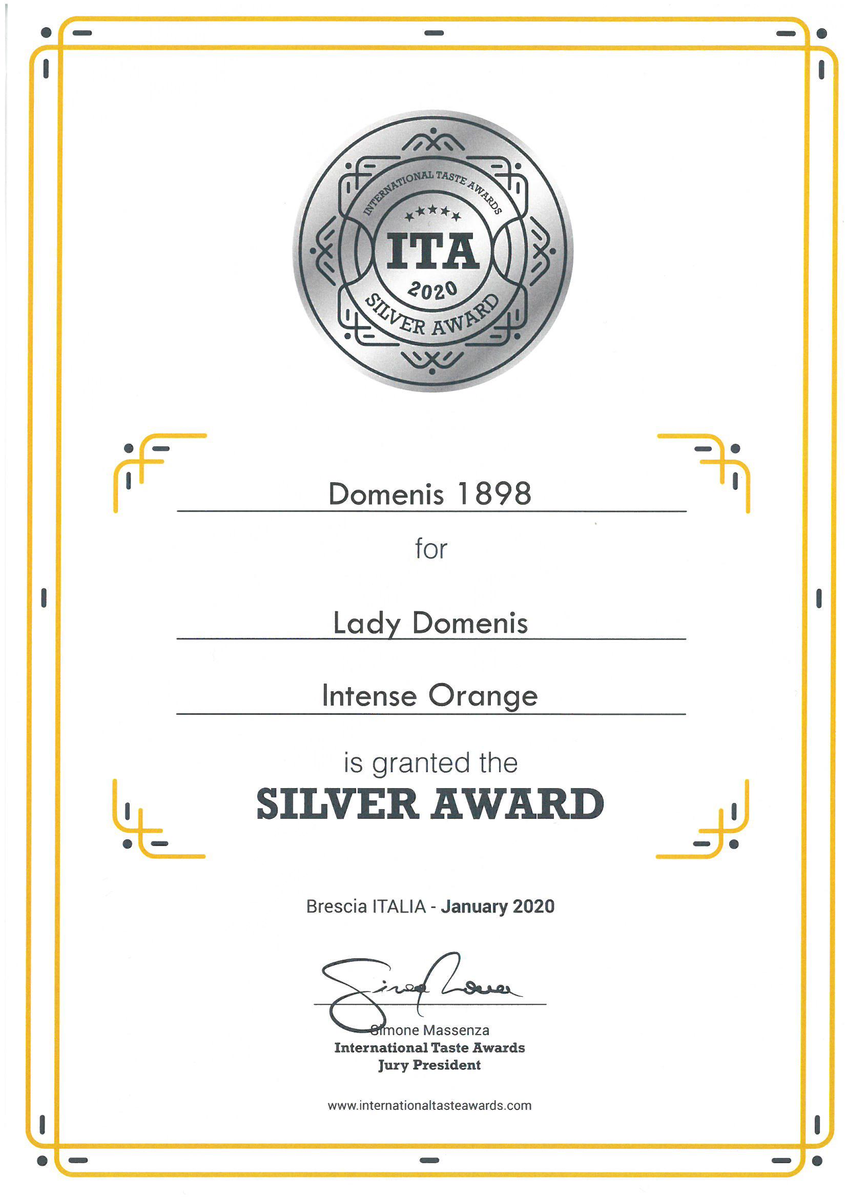International Taste Awards 2020 – LADY Domenis Intense Orange