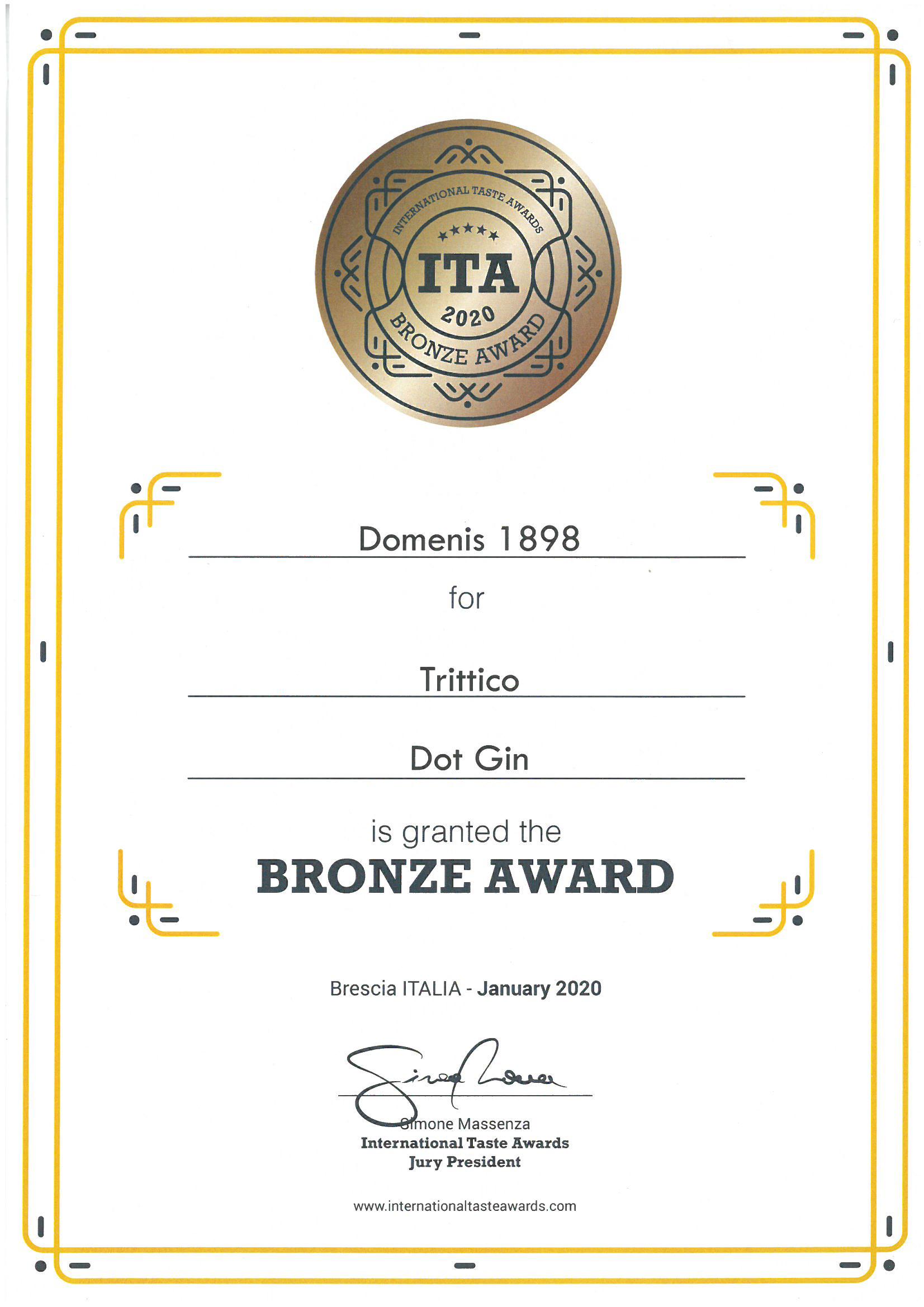 International Taste Awards 2020 – TRITTICO Dot Gin