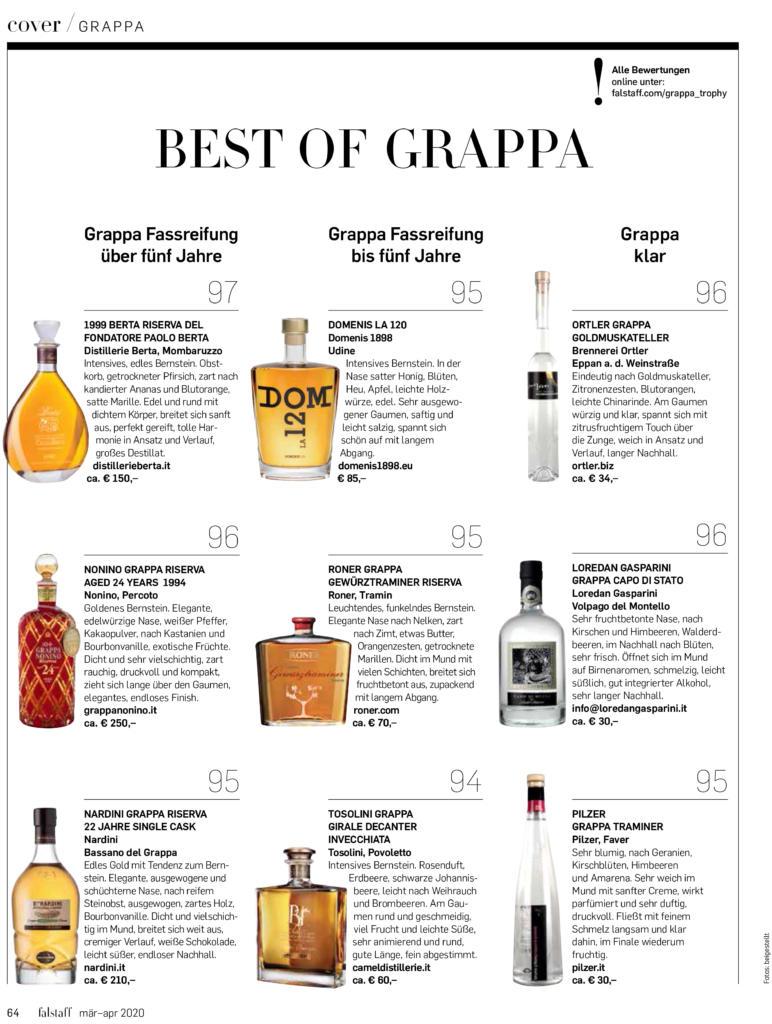 2020 marzo-aprile: Falstaff Magazine – Best of Grappa