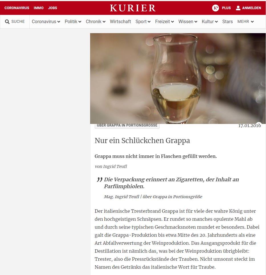 2016 gennaio 17: Kurier.at – Nur ein Schlückchen Grappa