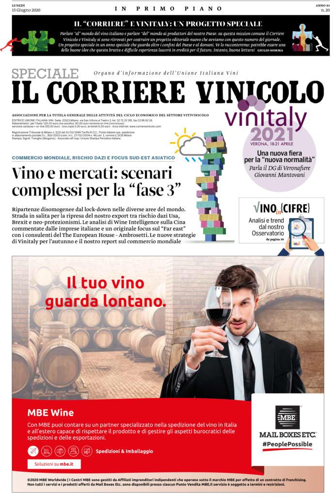 2020 giugno 15: Il Corriere Vinicolo Speciale Vinitaly 2021