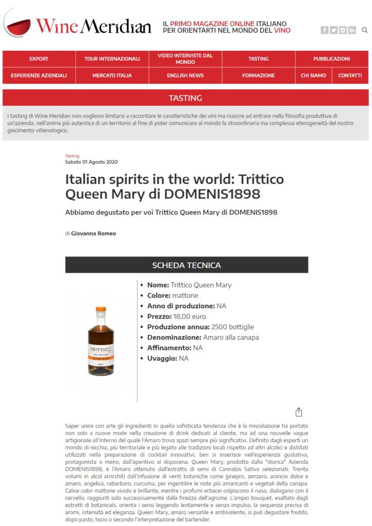 2020 agosto 01: WineMeridian – Italian spirits in the world: Trittico Queen Mary