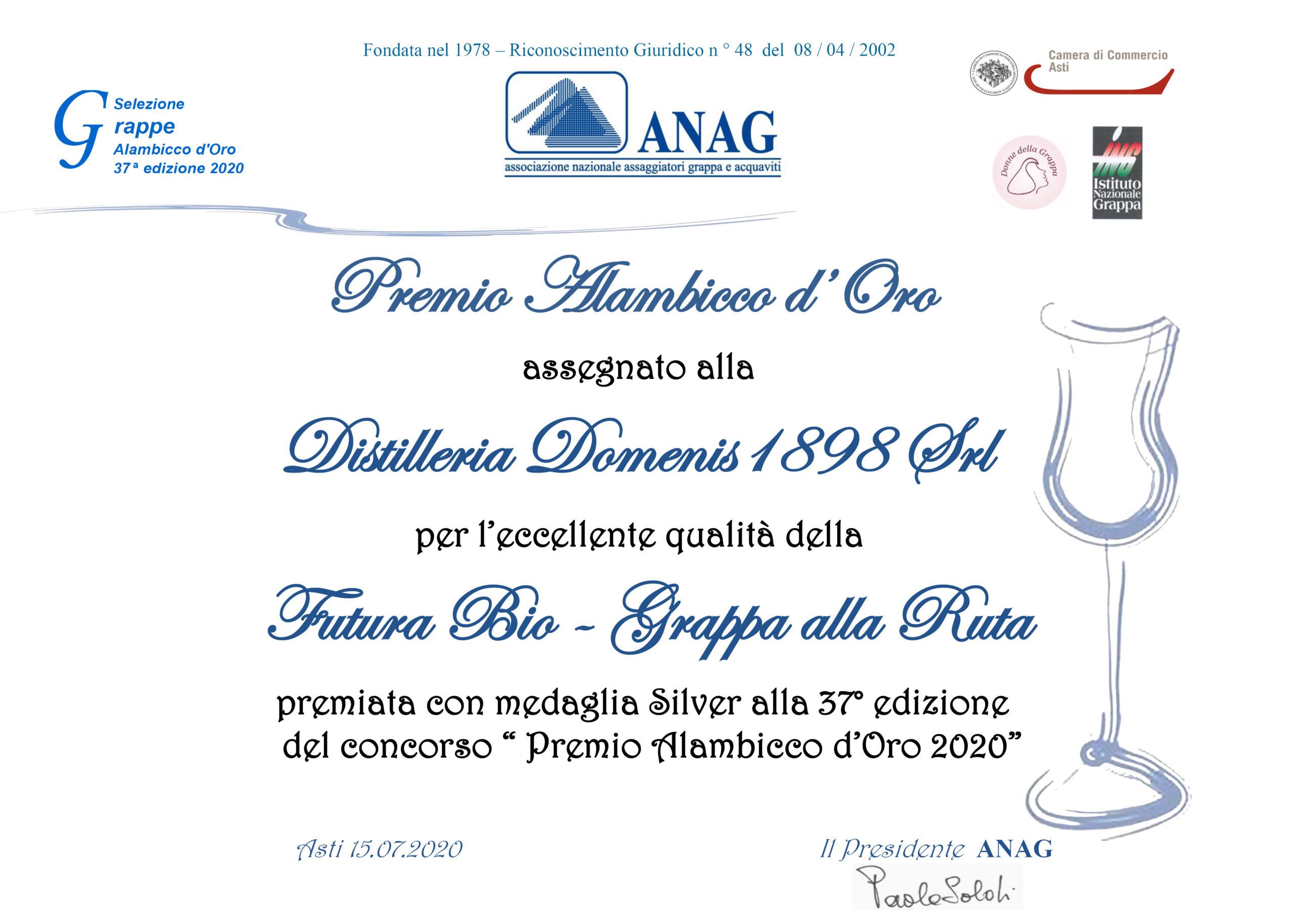 Premio Alambicco d'Oro 2020 – FUTURA BIO Grappa alla Ruta