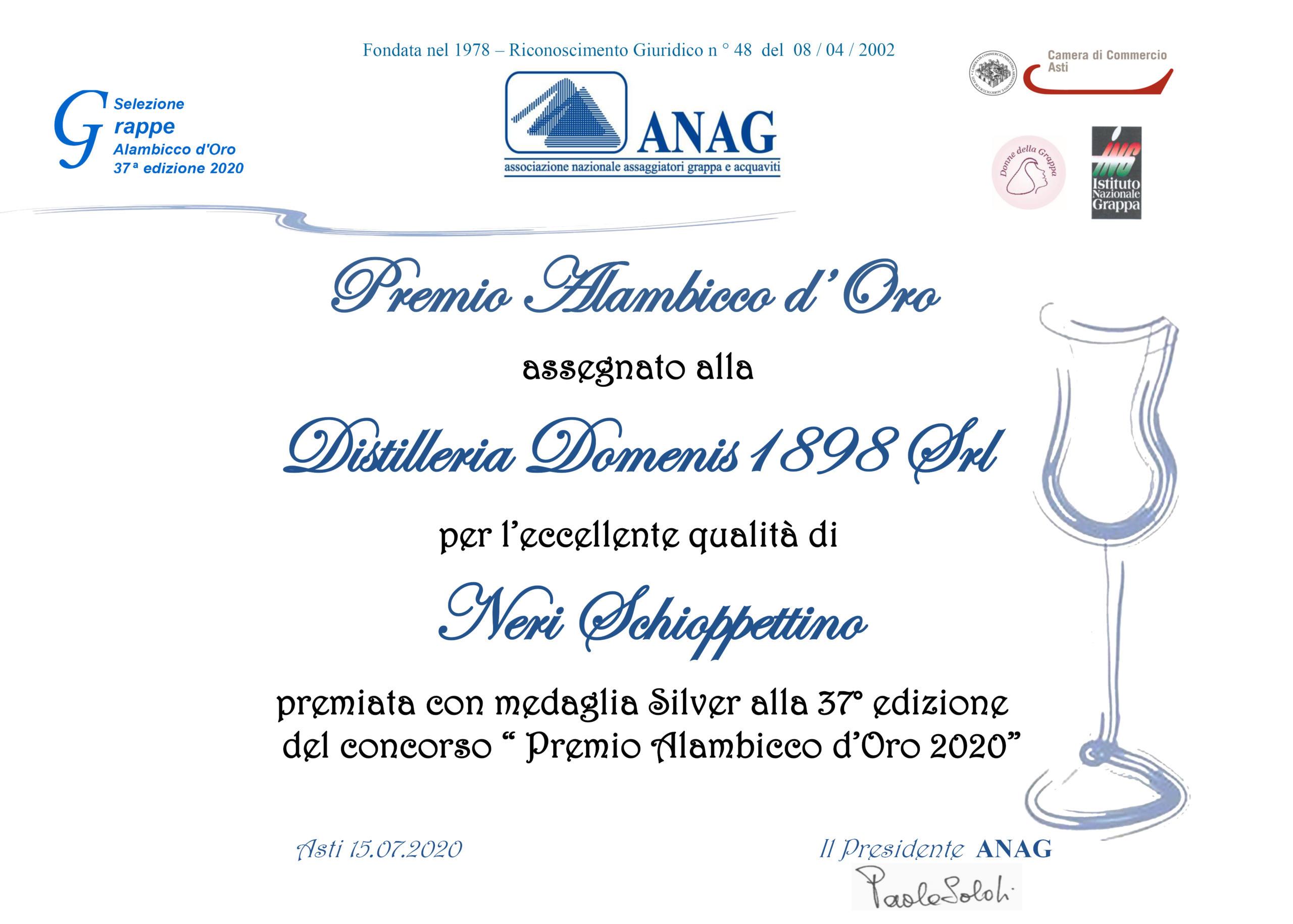 Premio Alambicco d'Oro 2020 – Neri Schioppettino