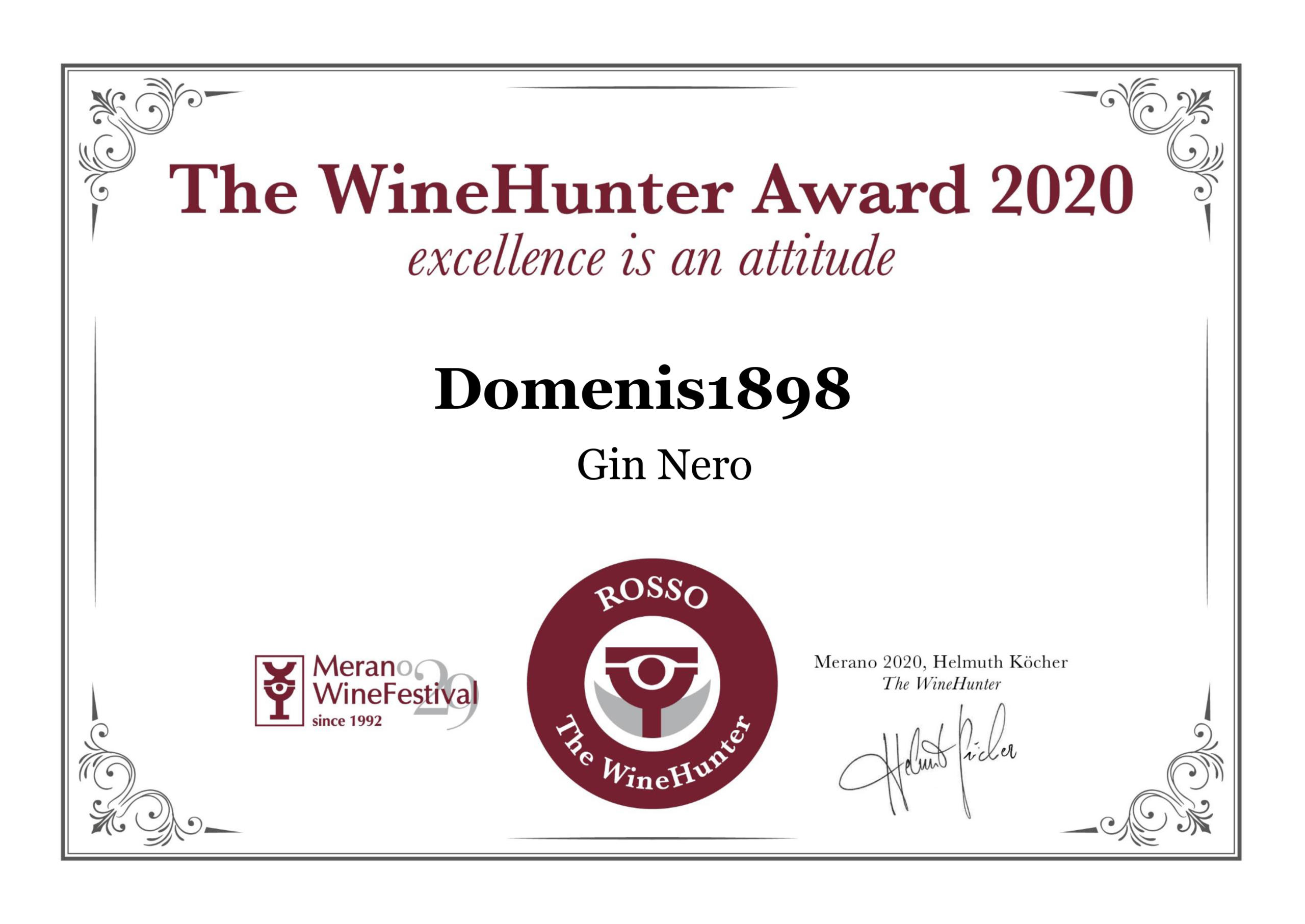 THE WINEHUNTER AWARD 2020 – PREMIO ROSSO – PL GIN NERO