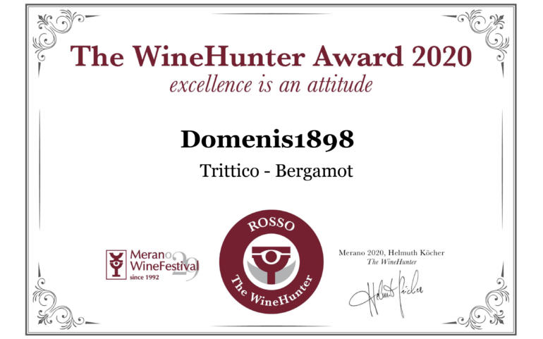 THE WINEHUNTER AWARD 2020 – PREMIO ROSSO – TRITTICO BERGAMOT