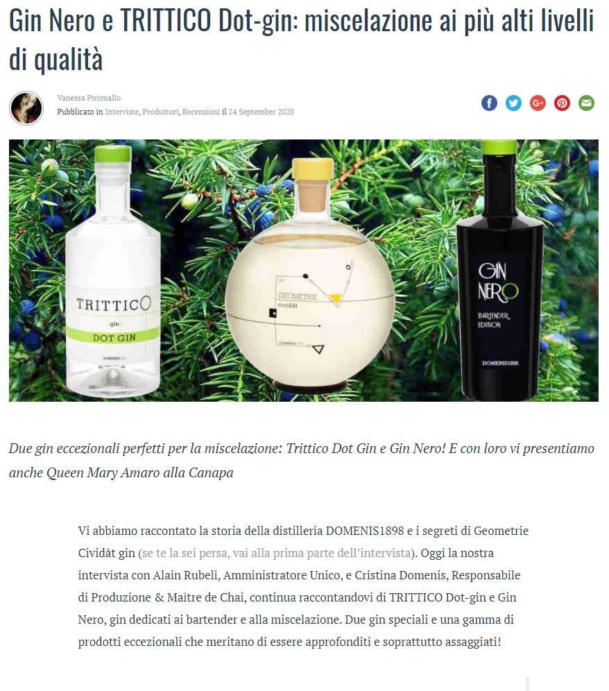 2020 settembre 24: ilGIN.it – Gin Nero e Trittico Dot-gin: miscelazione ai più alti livelli di qualità