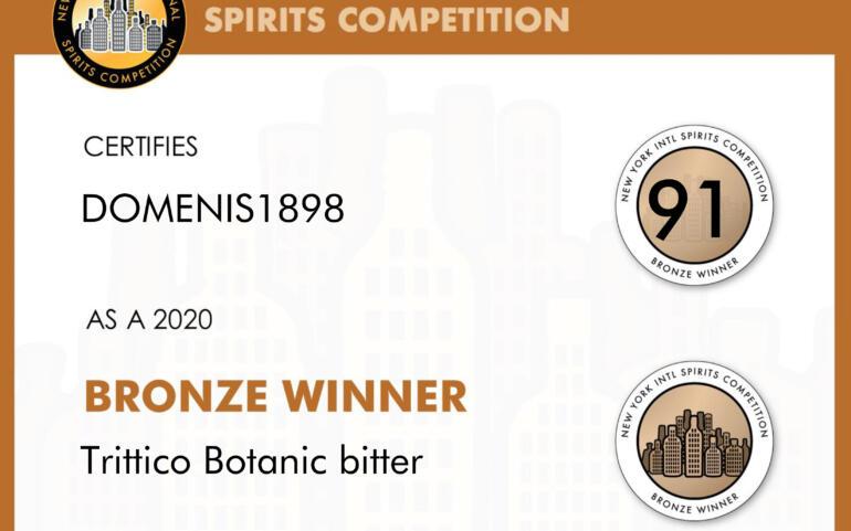 New York Intl Spirits Competition 2020 – Bronze Winner – Trittico Botanic bitter