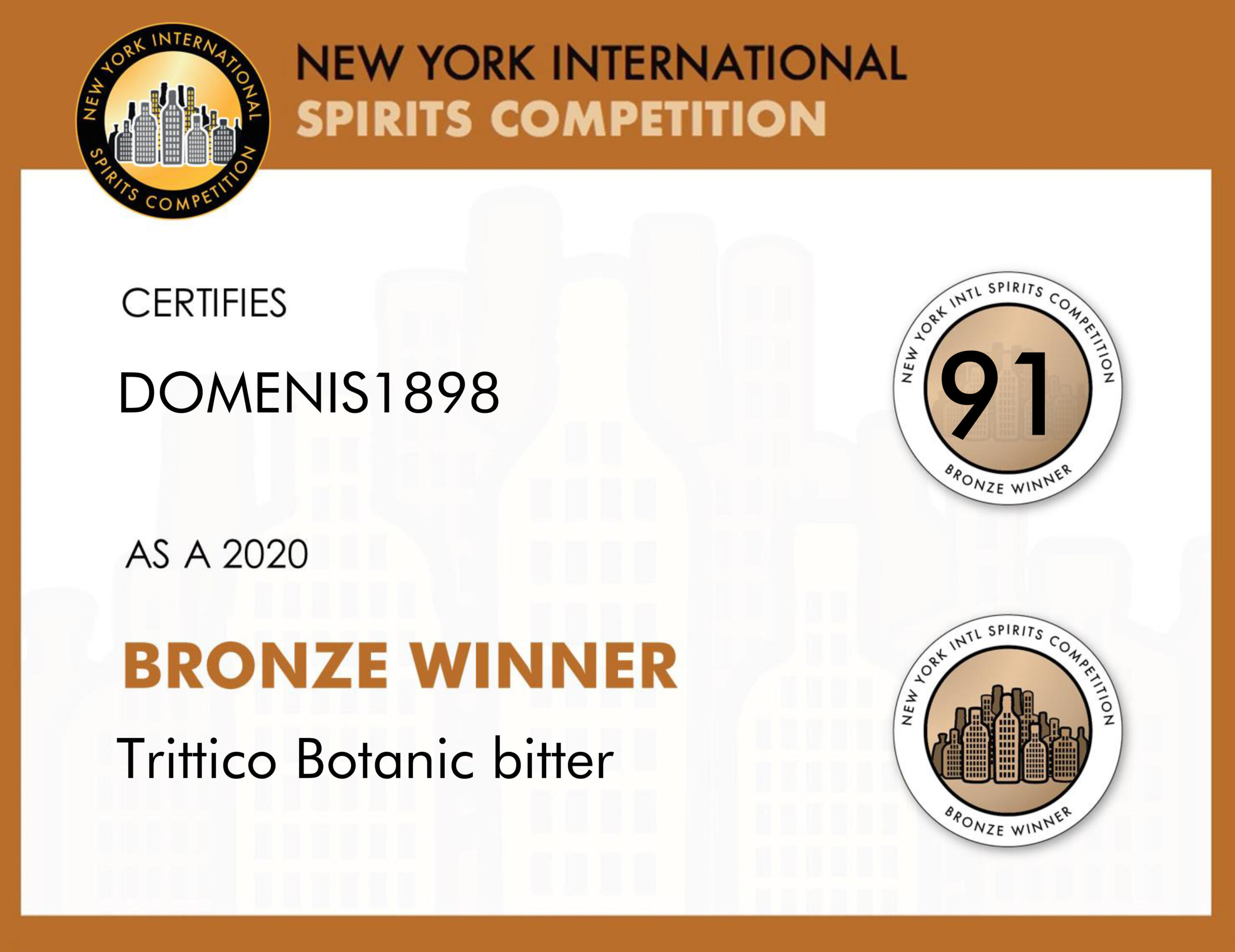 New York Intl Spirits Competition 2020 – Bronze Winner – Trittico Botanic bitter