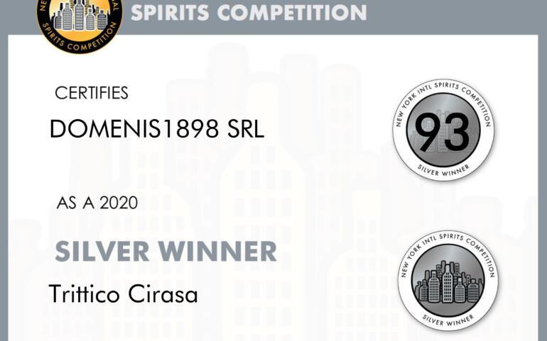 New York Intl Spirits Competition 2020 – Silver Winner – Trittico Cirasa