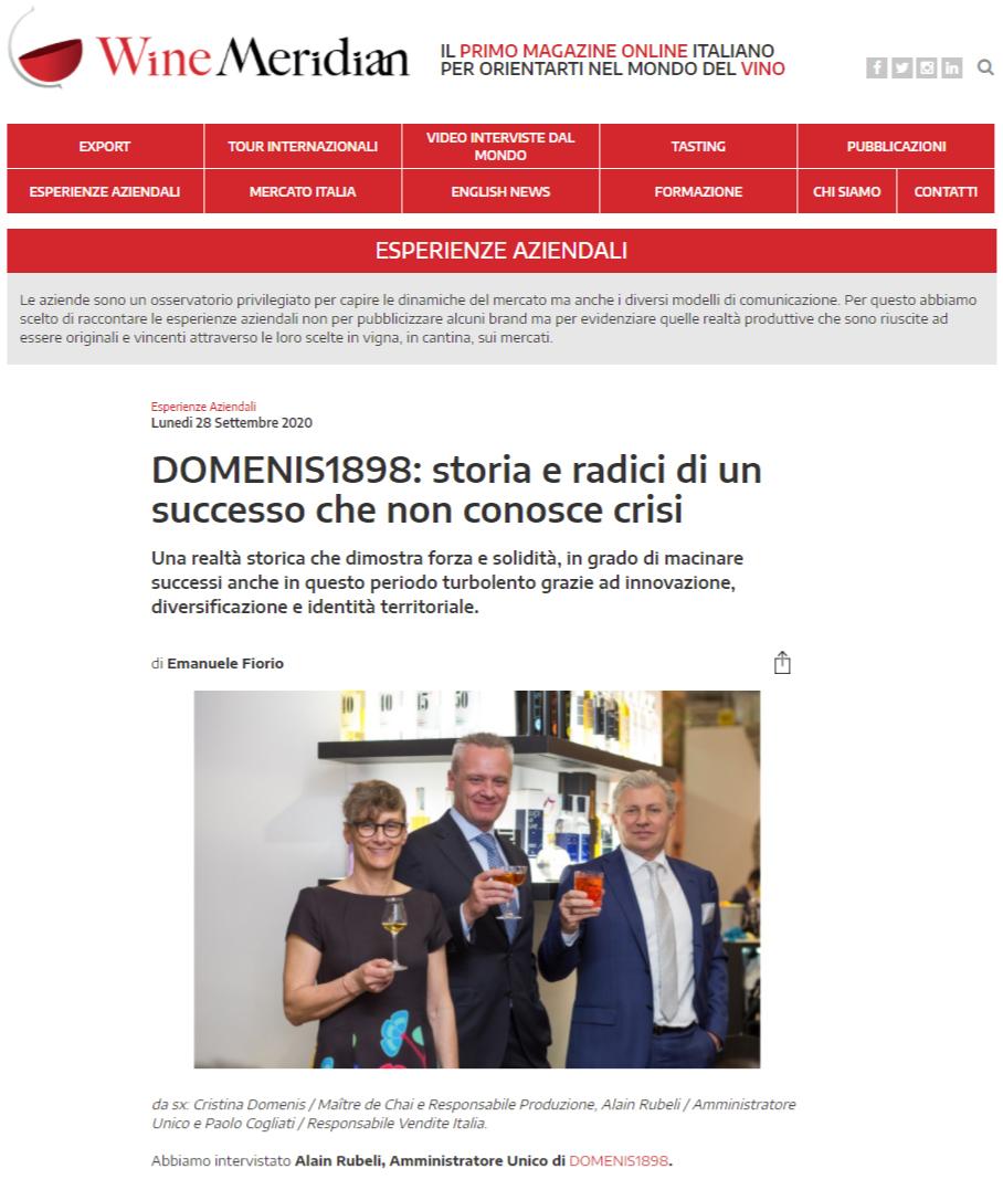 2020 settembre 28: WineMeridian – DOMENIS1898: storia e radici di un successo che non conosce crisi