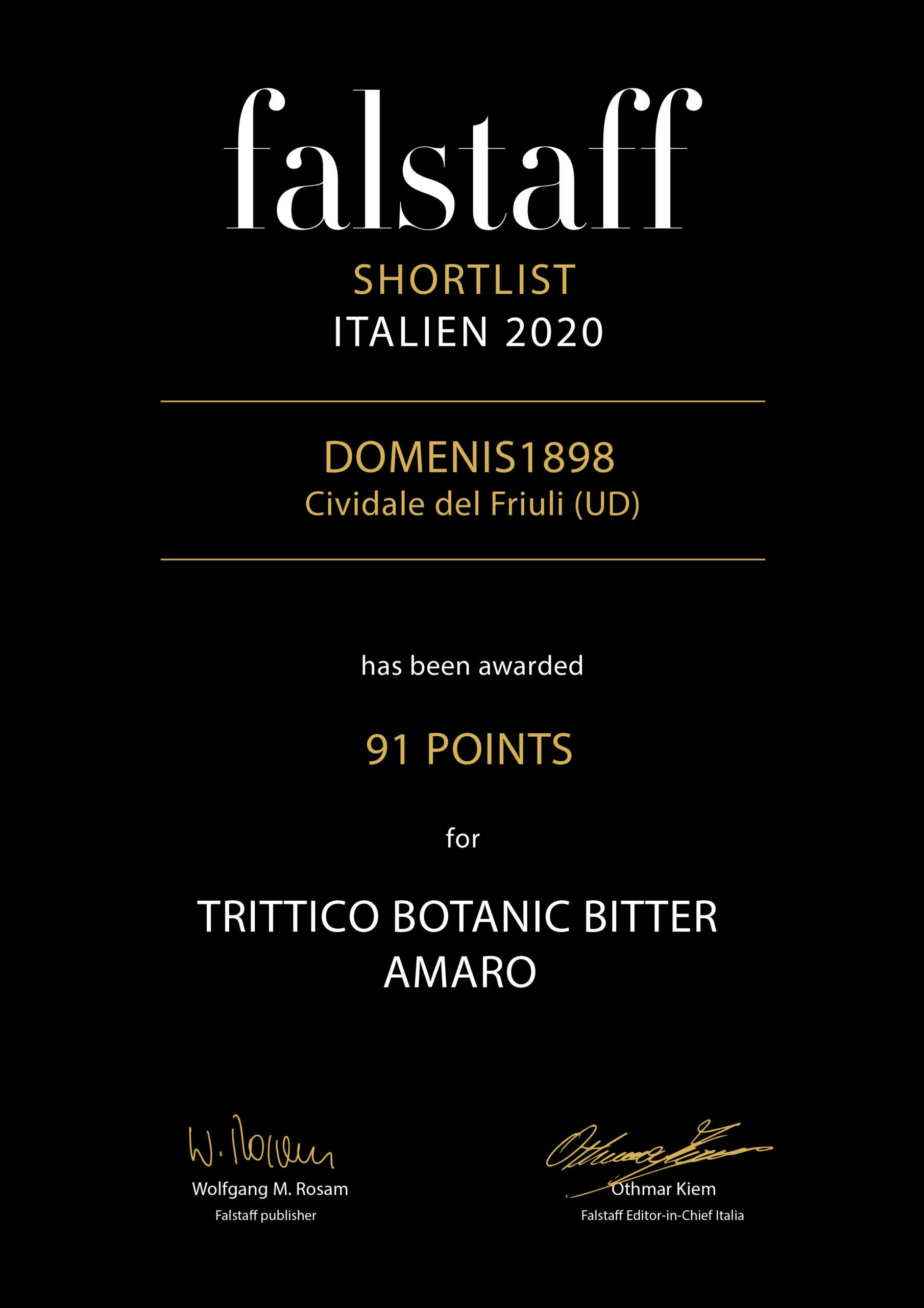Falstaff Shortlist Italien 2020 – Trittico Botanic bitter