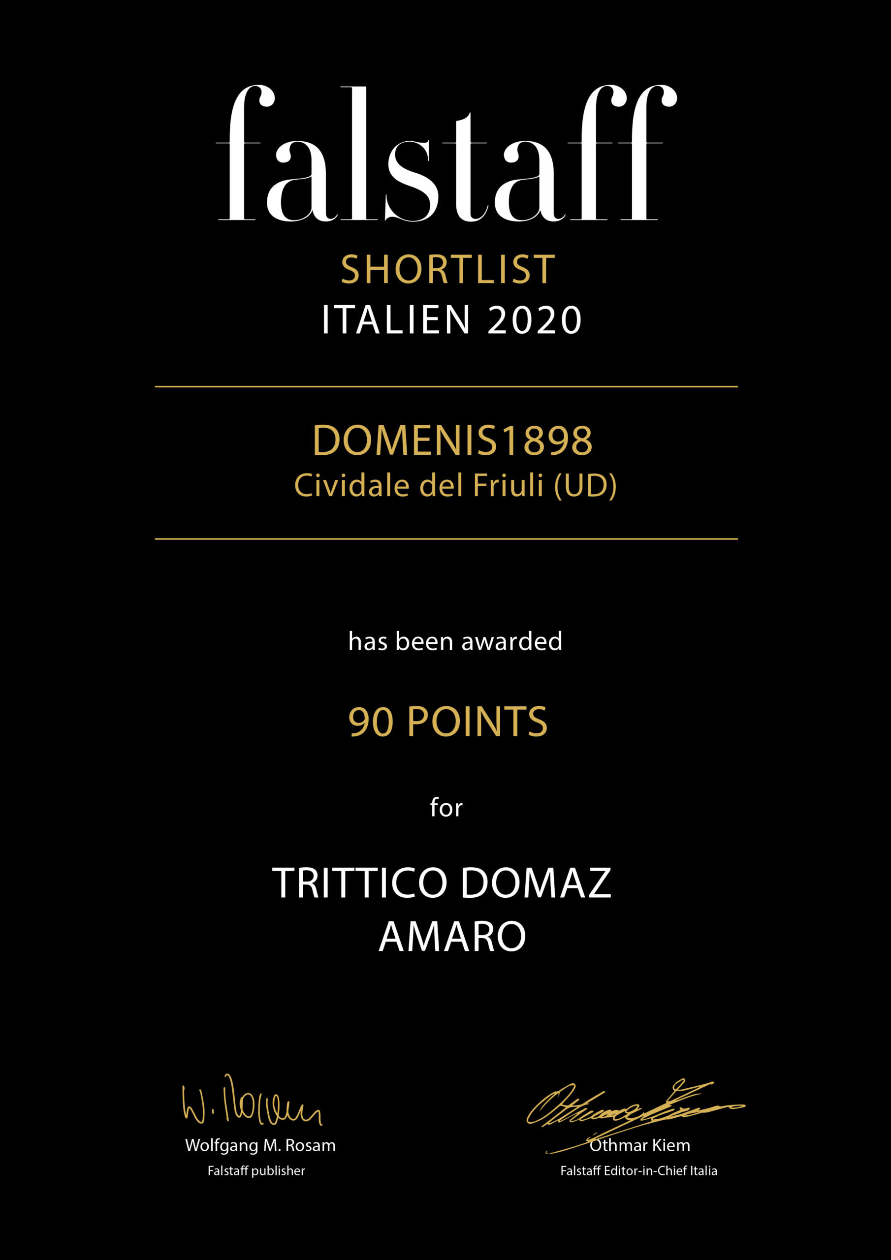 Falstaff Shortlist Italien 2020 – Trittico DOMAZ
