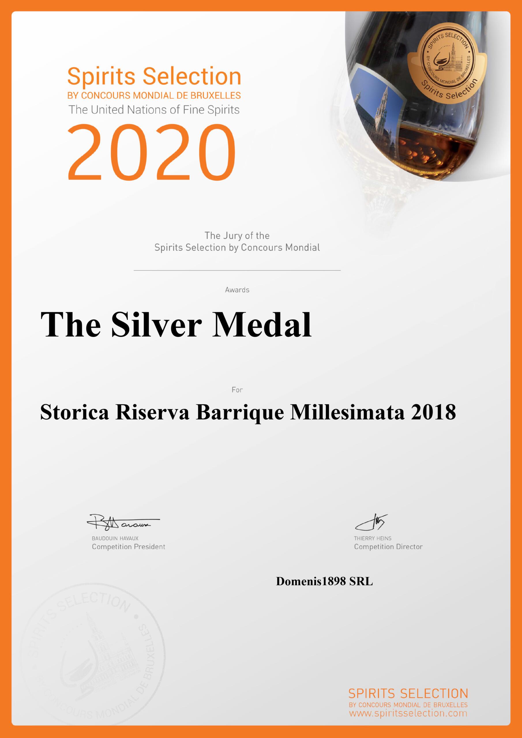 Spirits Selection by Concours Mondial de Bruxelles 2020 – Silver Medal – Storica Riserva Barrique Millesimata