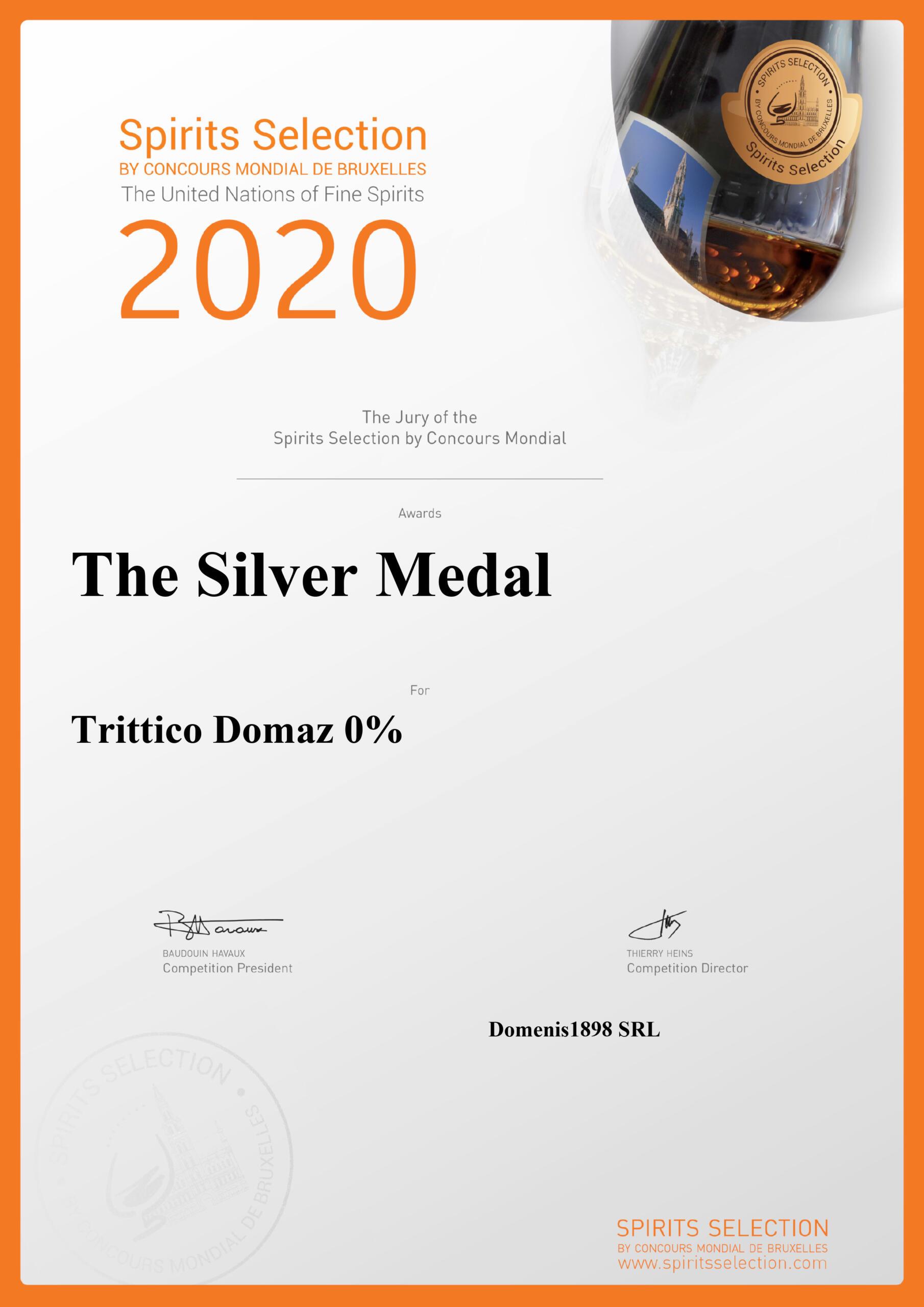 Spirits Selection by Concours Mondial de Bruxelles 2020 – Silver Medal – Trittico Domaz
