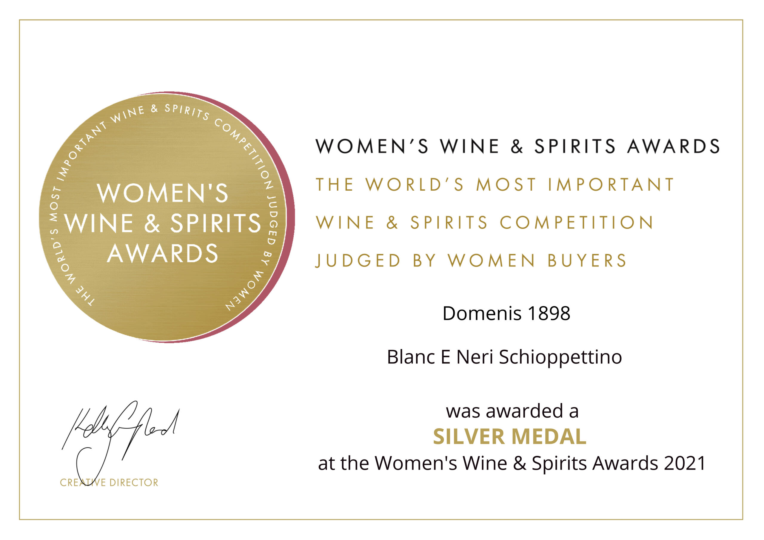 Women's Wine & Spirit Awards 2021 – Silver Medal – Blanc e Neri – Schioppettino