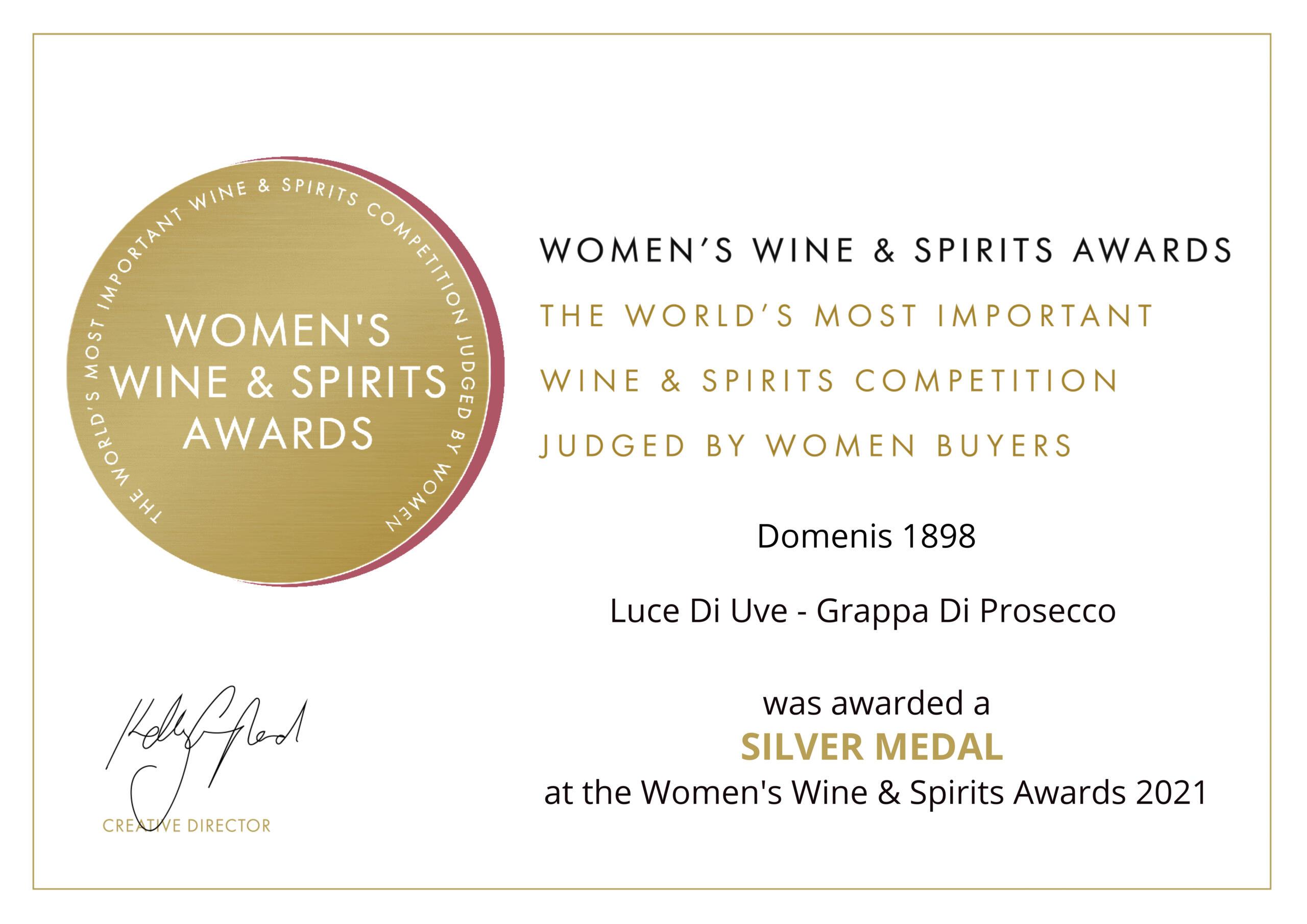 Women's Wine & Spirit Awards 2021 – Silver Medal – Luce Di Uve – Grappa di Prosecco