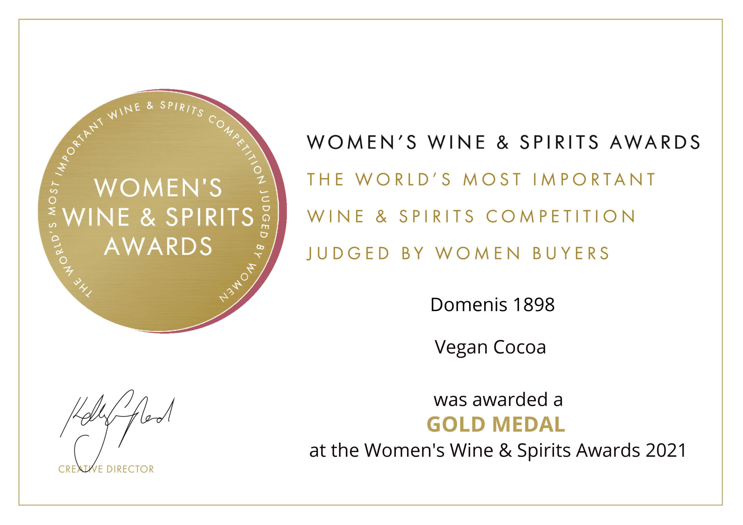 Women's Wine & Spirit Awards 2021 – Gold Medal – Vegan Cocoa
