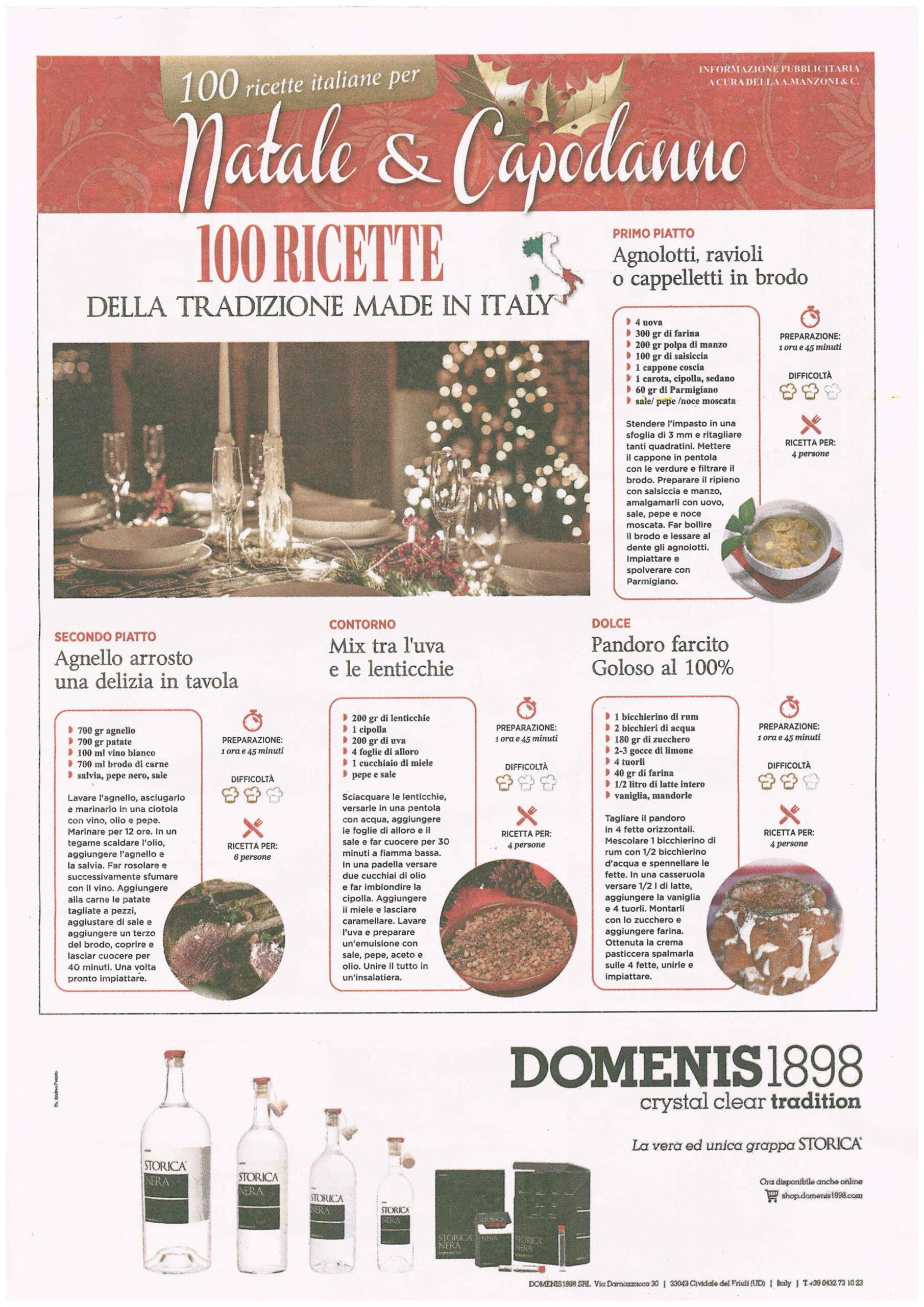 2020 dicembre 16: Messaggero Veneto – 100 Ricette italiane per Natale & Capodanno