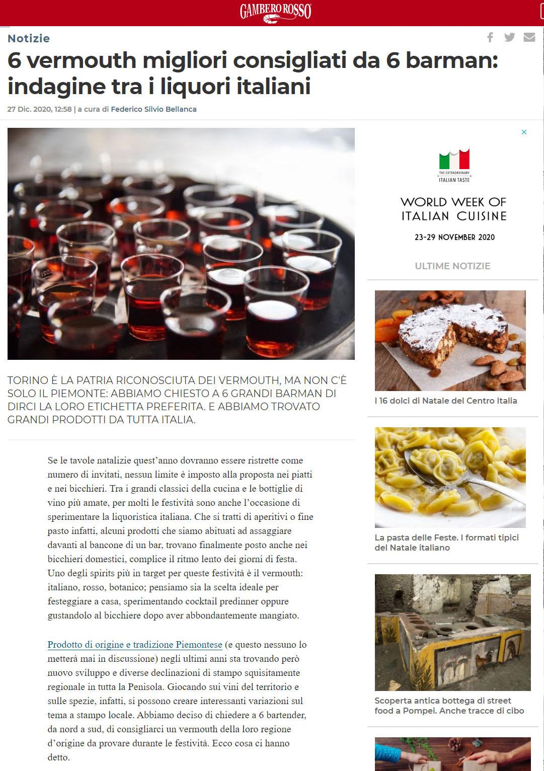 2020 dicembre 27: 6 vermouth migliori consigliati da 6 barman: indagine tra i liquori italiani