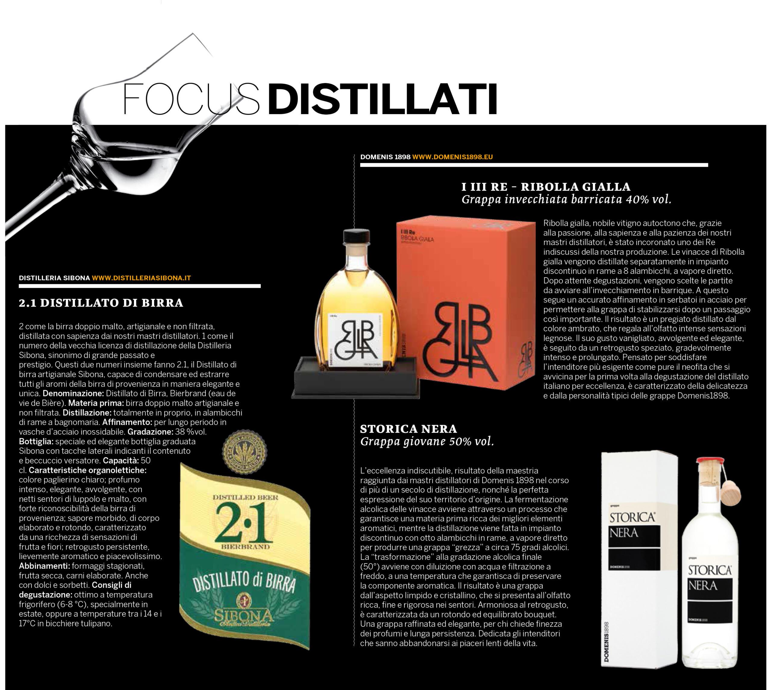 2021 gennaio 11: Il Corriere Vinicolo – Focus distillati