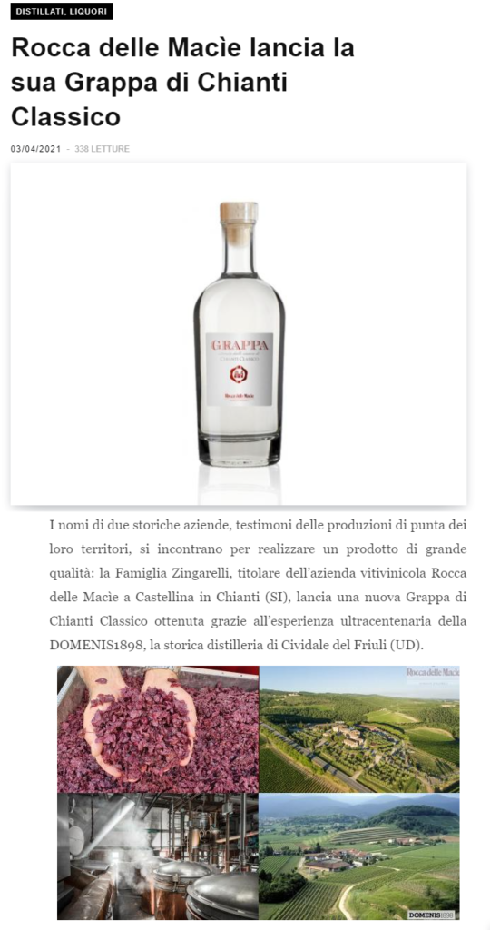 2021 aprile 03: Beverfood.com – Rocca delle Macìe lancia la sua Grappa di Chianti Classico
