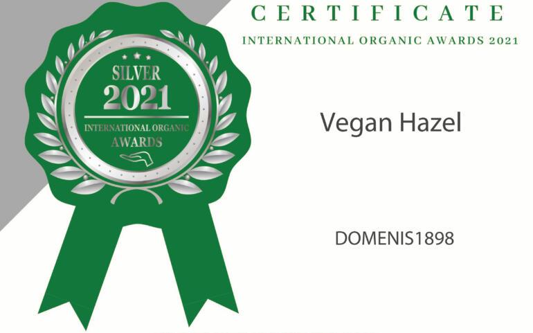 International Organic Awards 2021 – Silver Winner – Vegan Hazel